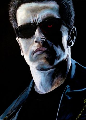 1990's Movie - TERMINATOR 2 PAINT canvas print - self adhesive poster - photo print